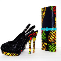 African Shoes And Bag Set - Yellow And Red African Ankara Slingbacks And Purse Set , African Fabric Clutch And Shoes Set -  Bridesmaids Set
