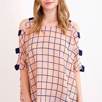 Hi-Lo Top with Grid Pattern and Ladder Sleeves