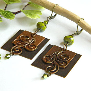 Antique Brass Swirl and Lime Green Earrings Handcrafted Beaded Long Crystal