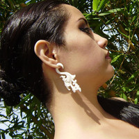 Fake Gauge   Hand Craved Natural White Bone Split Gauge Earrings Flowing Tribal style