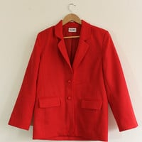 Vintage 80s Bright Red Blazer // Size 8 Large