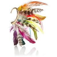 Multicoloured feather ear cuff - earrings - jewellery - women