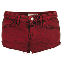 MOTO Red Denim Hotpant - Shorts - Clothing - Topshop USA