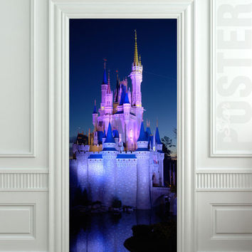 "Door Wall STICKER castle fairy tale disney land fantasy decole film poster 31x79""(80x200cm)"