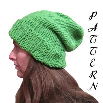 Instand PDF Download - Slouchy Hat Pattern - Knit Hat Pattern - Slouchy Hat Knitting Pattern - St. Patrick's Day Green