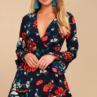 Dear to My Heart Navy Blue Floral Print Long Sleeve Romper