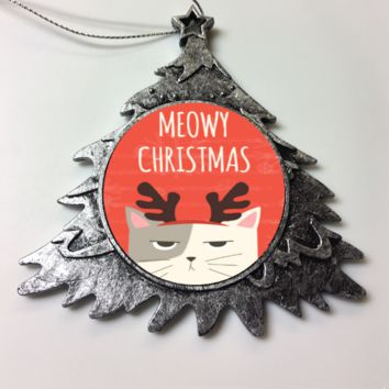 Premium Ceramic Christmas Ornaments For Cat Moms & Dads - Meowy Christmas Ornament Holiday Gift For Cat Lovers