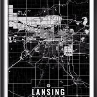 Lansing Michigan Map with Coordinates