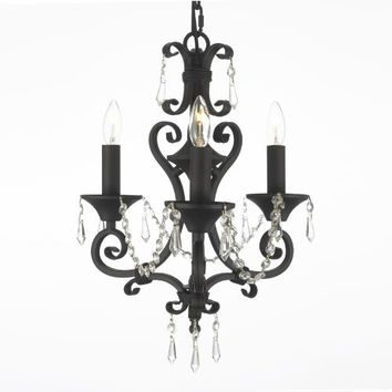 """New! Tole Wrought Iron & Crystal Chandelier H 17"""" W 16"""" - G7-614/3 Gtc"""