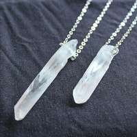 raw rock crystal point necklace-raw crystal necklace-raw clear quartz point necklace-sliver chain