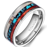 Titanium ring with inlay of elk antler, Koa wood and turquoise