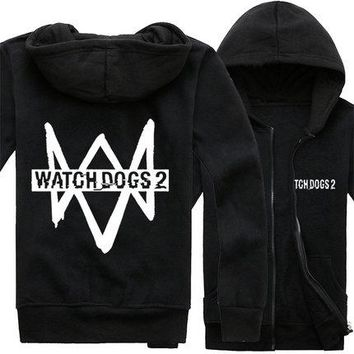 Hot Game Watch Dogs Cosplay Hoodie Jacket Fleece Coat in stock free shipping NEW