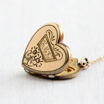 Vintage 10k Gold Filled Heart Locket Necklace - 1940s WWII Era Sweetheart Flower Jewelry Monogrammed EMK