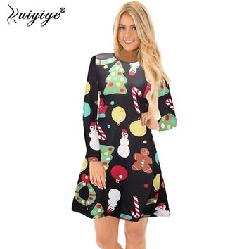 Ruiyige 2018 Summer Womens Dresses Feminino Casual Full Sleeve O-Neck Stretch Christmas Print Xmas Santa Party Vestidos De Festa