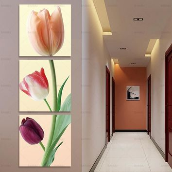 Canvas Prints flower  poster  Tulips Canvas Painting  tree picture Wall Art  Picture poster art wall Pictures home decoration