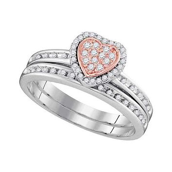 10kt White Gold Women's Round Diamond Rose-tone Heart Bridal Wedding Engagement Ring Band Set 1/4 Cttw - FREE Shipping (US/CAN)