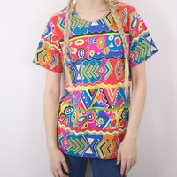 Vintage 80s Abstract T Shirt Blouse