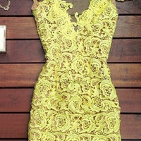 Yellow Mesh Panel Floral Lace Dress
