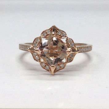 Morganite Diamond Ring in 14K Rose Gold!Retro Vintage Floral,6.5mm Cushion Cut Morganite Engagement Wedding Bridal Ring,Art Deco Antique