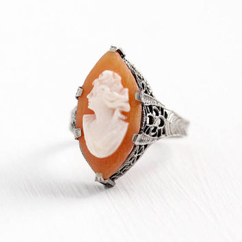 Antique Cameo Ring - Vintage 14k White Gold Art Deco 1920s Carved Marquise Navette Shell - Size 4 3/4 Flower Filigree A&S 20s Fine Jewelry