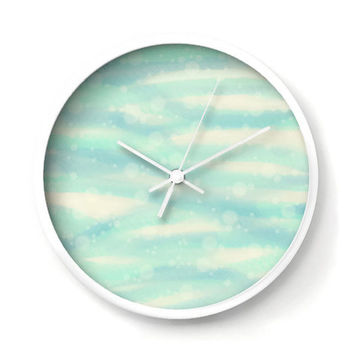 Bubbly Sea and Sand Nautical Wall Clock in blue, aqua and sand