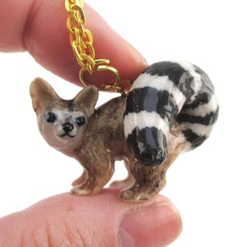 3D Porcelain Ring-tailed Cat Shaped Ceramic Pendant Necklace