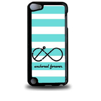 Anchored Forever Mint Stripes iPod Touch 5 Case - For iPod Touch 5/5G - Designer Plastic Snap On Case