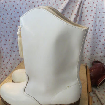 Vintage Gotham Lively Stepper White leather  Drum Major Marching Band Majorette Boots NIB sz 5 1/2