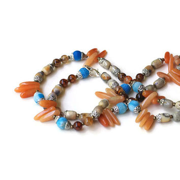 Extra Long Southwestern Necklace, Blue Tan Silver, Handmade Multistrand Wrap Necklace, Unique Designer Statement Jewelry