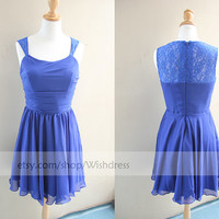 Handmade Illusion Lace Top Royal Blue Short Bridesmaid Dress/ Cocktail Dress/ Wedding Party Dress/ Short Prom Dress/ Homecoming Dress