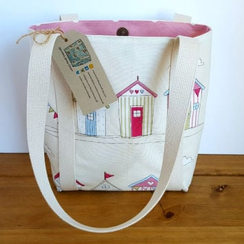 Small Beach Bag, Beach Hut Fabric Shoulder Bag, Pink Polka Dot Lining,  Holiday Gift, Summer Purse, Present For Her, Small Tote Bag