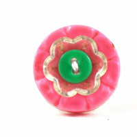 Flower Ring Statement Feminine Girls Jewelry Upcycled Buttons Pink White Green on adjustable ring shank
