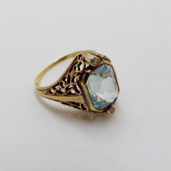 Art Deco 14K Blue Topaz Diamond Ring, Vintage Art Deco Ring,  14K Gold Filigree, Mine Cut Diamonds, Engagement Ring