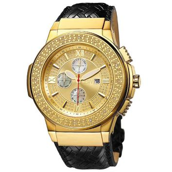 JBW Men's 'Saxon' Gold-plated Braided Leather Diamond Watch - Gold/White
