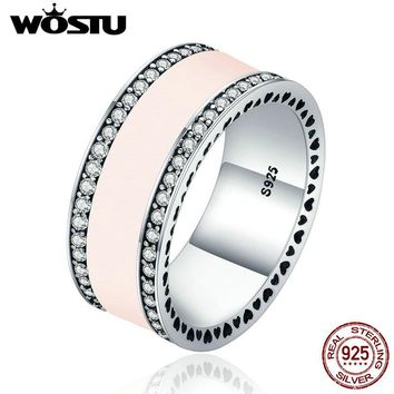 WOSTU High Quality 100% 925 Sterling Silver Statement Wide Band Pink Enamel Wedding Rings For Women Luxury Jewelry Gift XCH7624