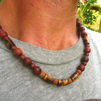 Tigers Eye & Wooden Beaded Necklace / Mens Beaded Necklace / Gemstone Beaded Necklace / Mens Choker Necklace / Hippe Boho Surfer Necklace