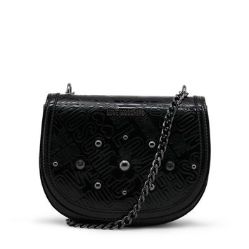 Love Moschino Black Patent Leather Clutch Bag