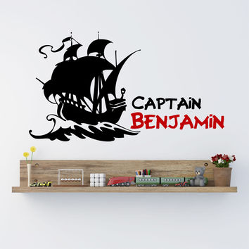 Pirate Ship Boys Name Wall Decal - by Decor Designs Decals, pirate wall decal, pirate ship decal, boys decal, boys nursery decal, boys room decal, kids room decal Z8