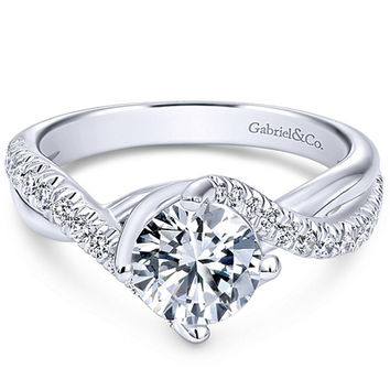 "Gabriel ""Skylar"" Pave Twist Split Shank Diamond Engagement Ring"
