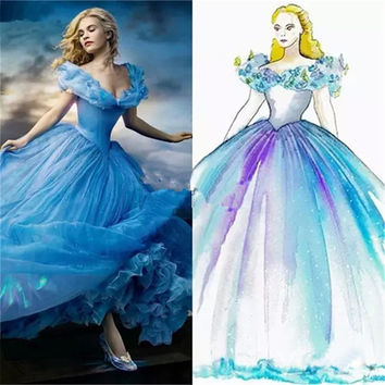 In Stock Butterfly Decoration Off The Shoulder Cinderella Cosplay Wedding Dress White/Blue Movie Fancy Princess Bridal Gown