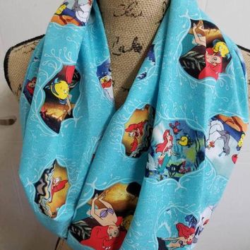 disney - princess - ariel - little - mermaid  - flounder - sebastian -  infinity  - scarf