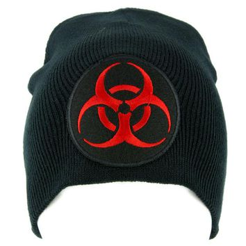 ac spbest Toxic Red Biohazard Sign Beanie Knit Cap Horror Clothing Zombie Apocalypse