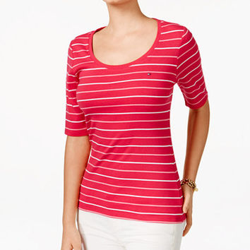 Tommy Hilfiger Striped T-Shirt - Tops - Women - Macy's