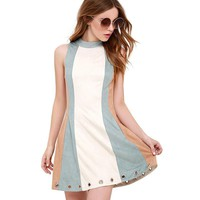 Contrast Color Block Sleeveless Dress