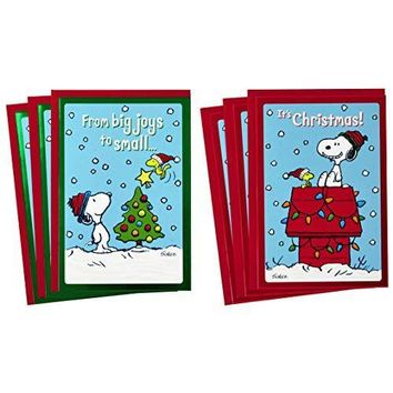 Hallmark Peanuts Christmas Cards Assortment, Snoopy and Woodstock with 6 Cards, 2 Designs - Free Shipping