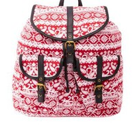 Paisley Print Canvas Backpack by Charlotte Russe - Red Combo