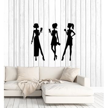 Vinyl Wall Decal Cocktail Party Girls Women Nightclub Interior Art Stickers Mural (ig5969)