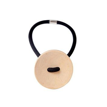 ESBG8W Women hair accessories Simple Wood Elastic Hair Tie Rope Band Ponytail Holder Button Fashion New Hot sale 2017 hairpins