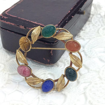 Van Dell Gold Filled Scarab Pin, Semi-Precious Gemstones, Rose Gold Leaves, Rose Quartz, Lapis Carnelian Jasper, 1960s, Vintage Jewelry