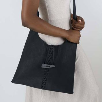 Midnight Grey Cross body Leather Handbag Purse